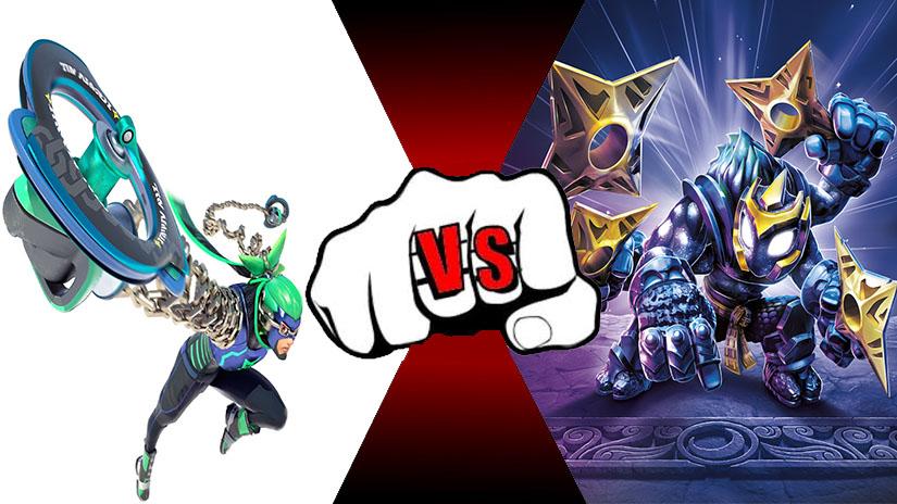 Ninjara (Arms) VS Starcast (Skylanders) by rockeyrolley
