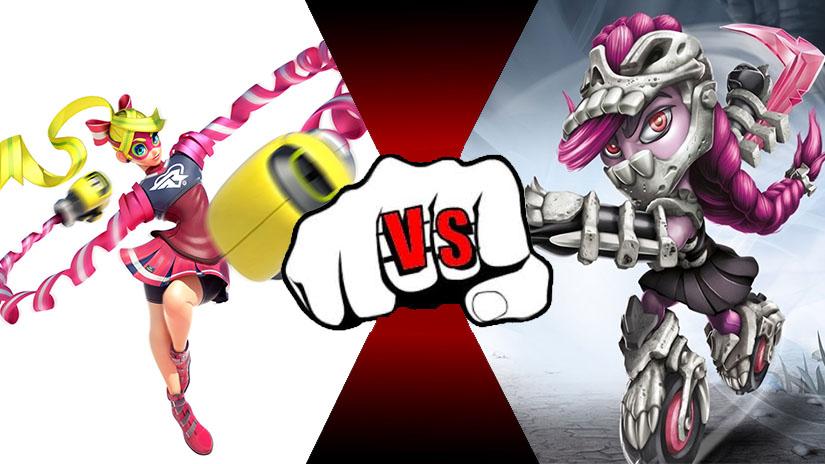 Ribbon Girl (Arms) VS Roller Brawl (Skylanders) by rockeyrolley