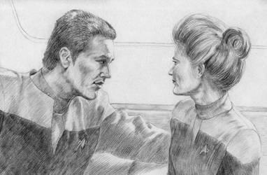 Janeway and Chakotay by MadameManga