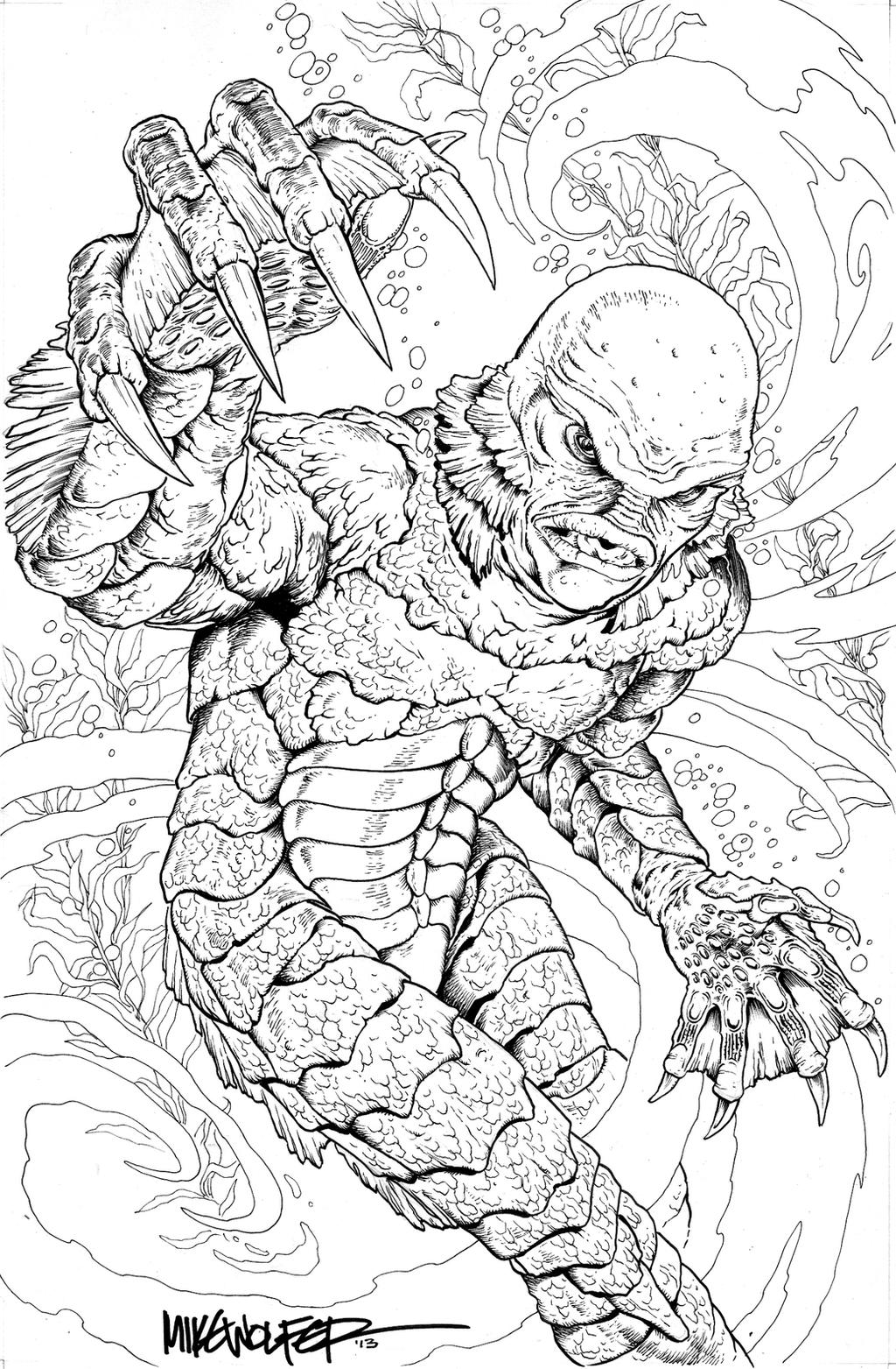 creature from the black lagoon coloring pages creature from the black lagoon by mikewolfer on deviantart