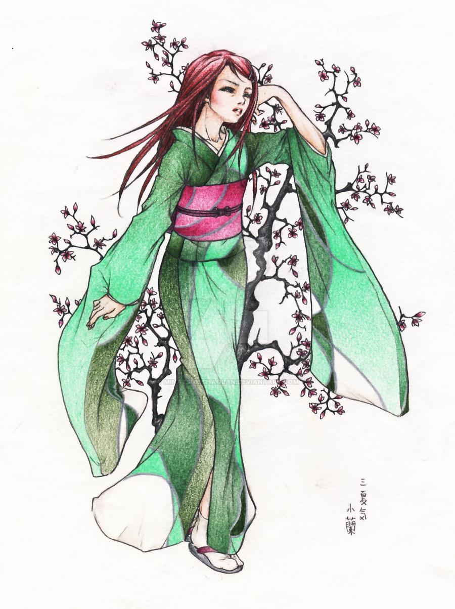 Anime Characters Kimono : Green furisode kimono by minatsukishaolan on deviantart