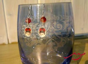 Red bow girl earrings