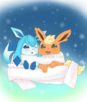 Glaceon and Flareon by hanamina3