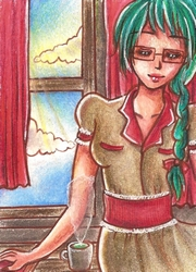 aceo card no. 43 - green tea and a good book by olletschka