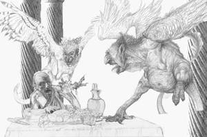 Phineus tormented by the Harpies, pencil rough