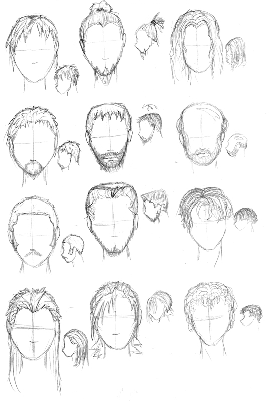 how to draw short hair on a guy
