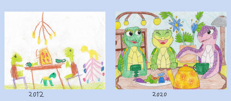 Draw this again: turtles tea party