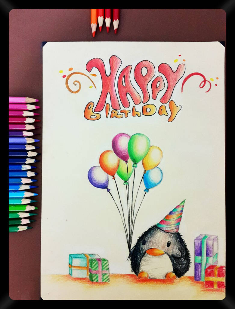 Pencil drawing 33 a birthday card to my friends by nasik2424