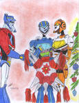 Jet twins and Optimus Christmas by ailgara