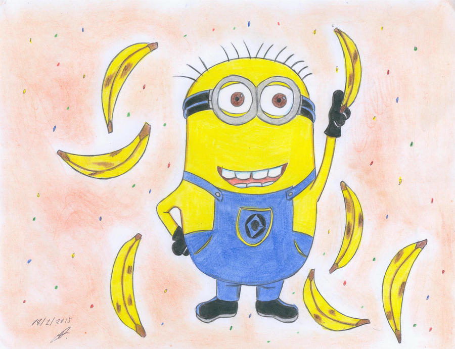 how to draw a minion on a banana
