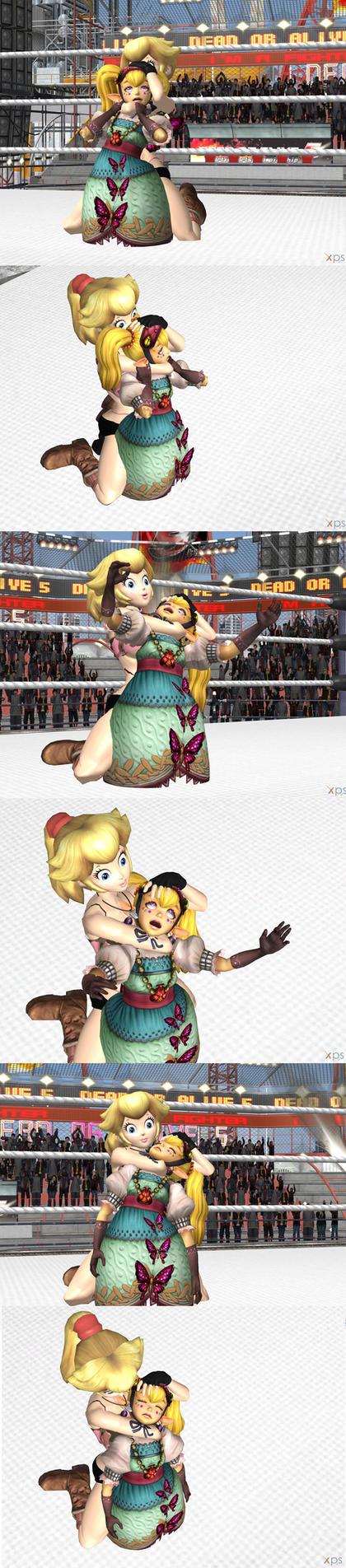 XPS wrestling: Peach Sleeperhold Agitha by fulgore12