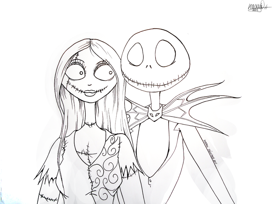 Jack and sally lineart by wolfsnightsong on deviantart for Nightmare before christmas coloring pages