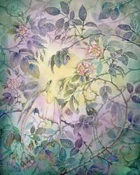 In a rose bush by Reza-malinova
