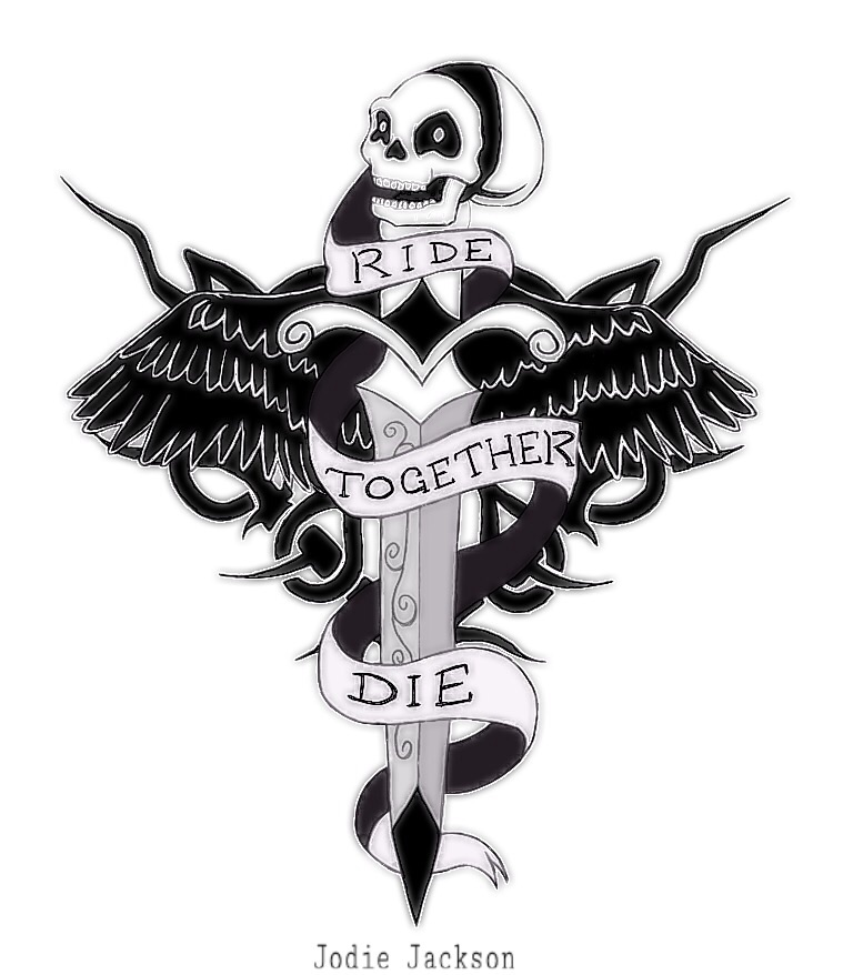 Ride together die together tattoo design by jodiejuo on for Ride or die tattoo