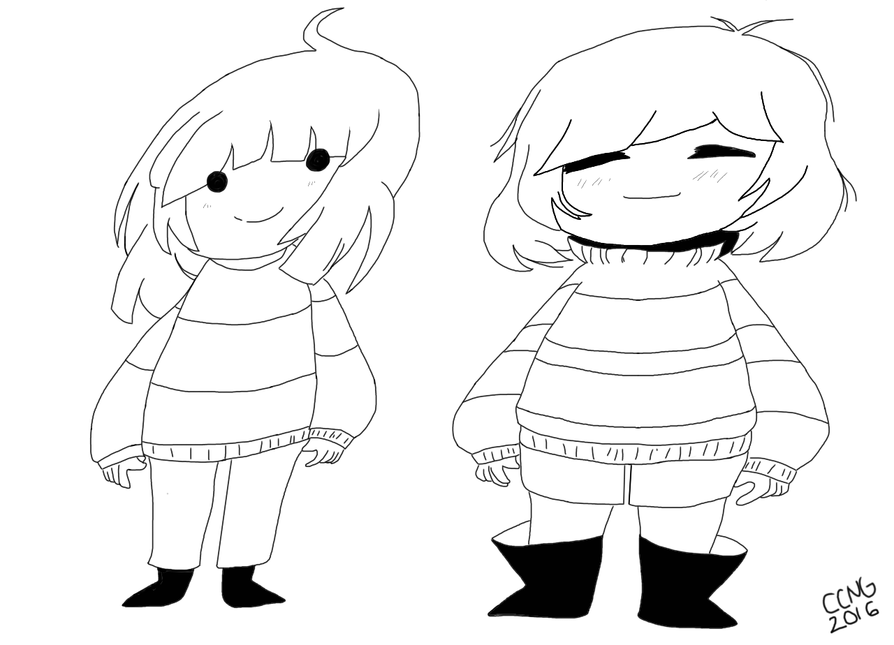 Frisk And Chara Undertale Coloring