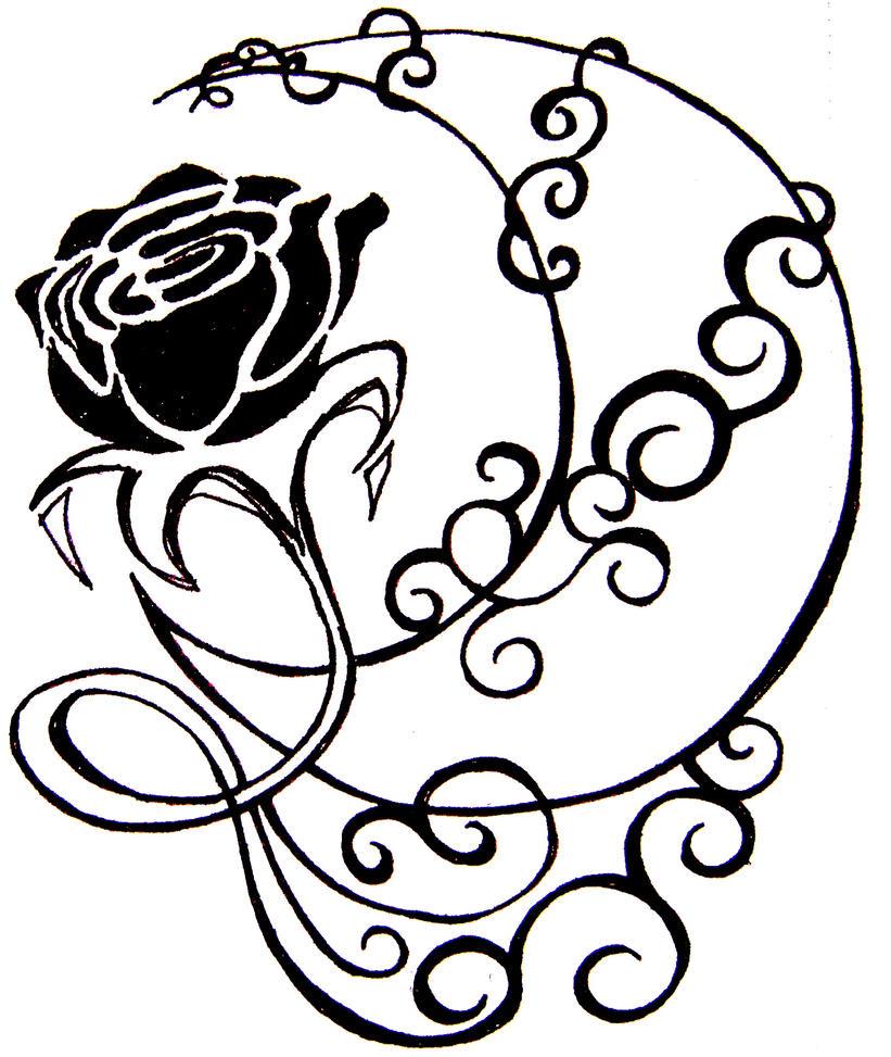 Line Drawing Moon : Moon rose xx by firelooxx on deviantart