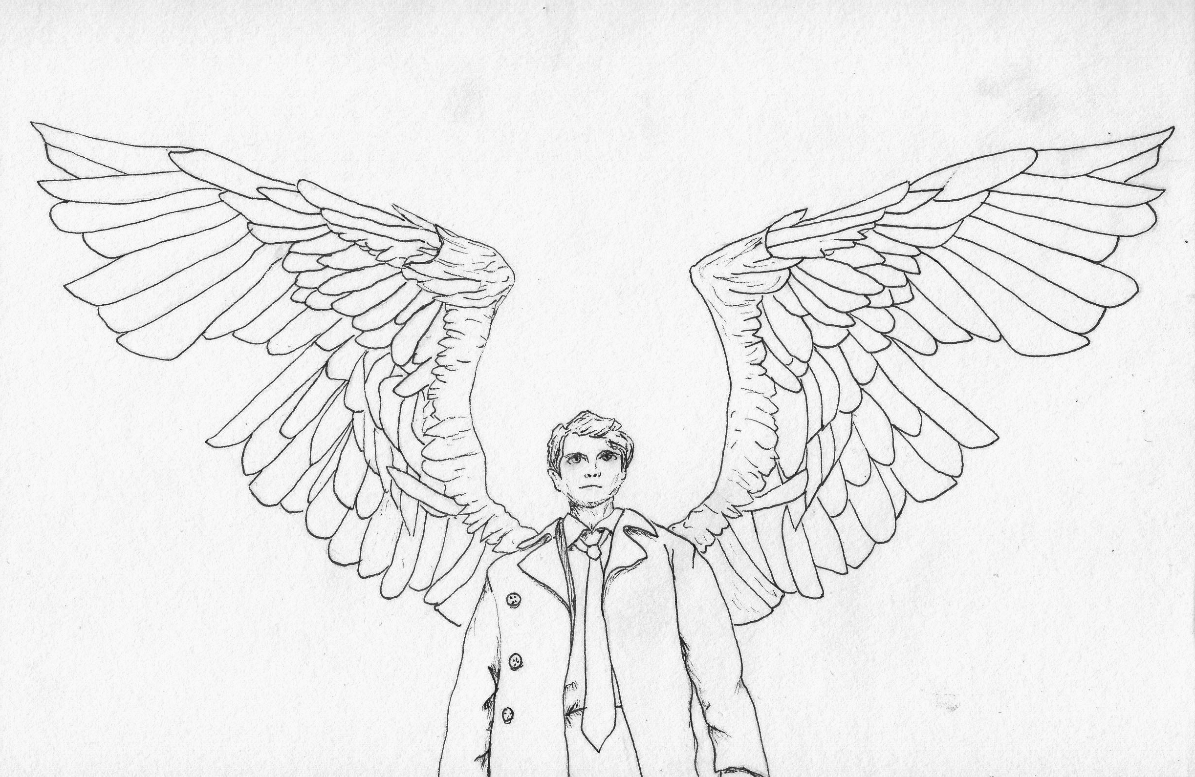 Drawing Lines R : Castiel line drawing by r ry the man on deviantart