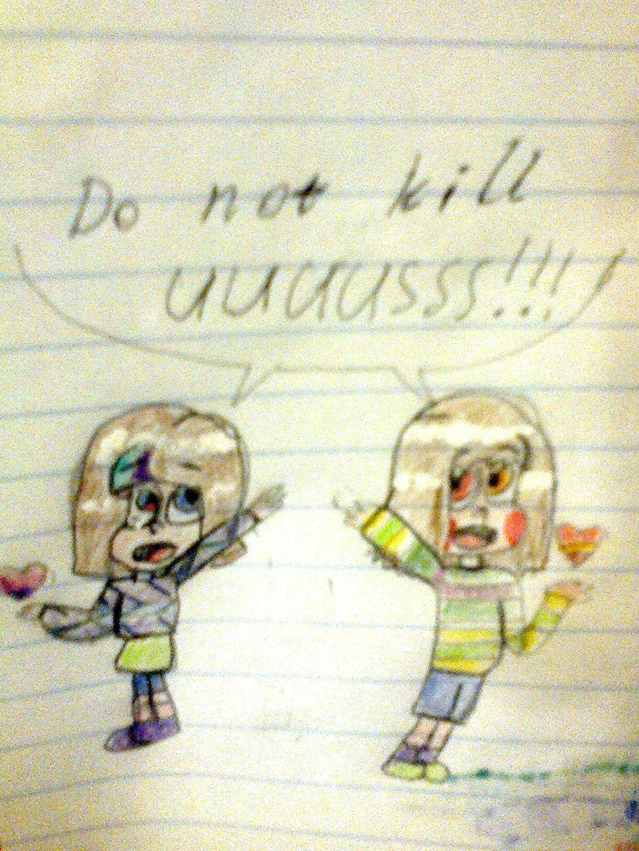 do not kill uuuusss!!! Mascot!Frisk and Chara by YuliaRabbid