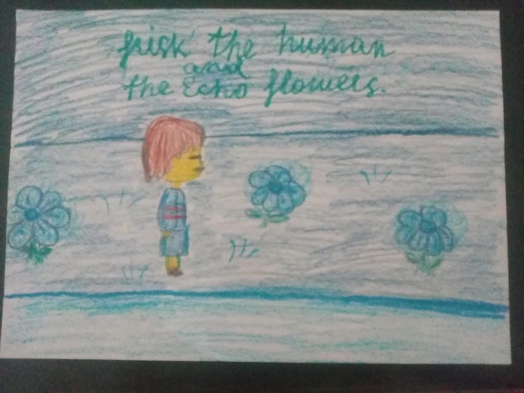 Frisk the Human and Echo-Flowers by YuliaRabbid