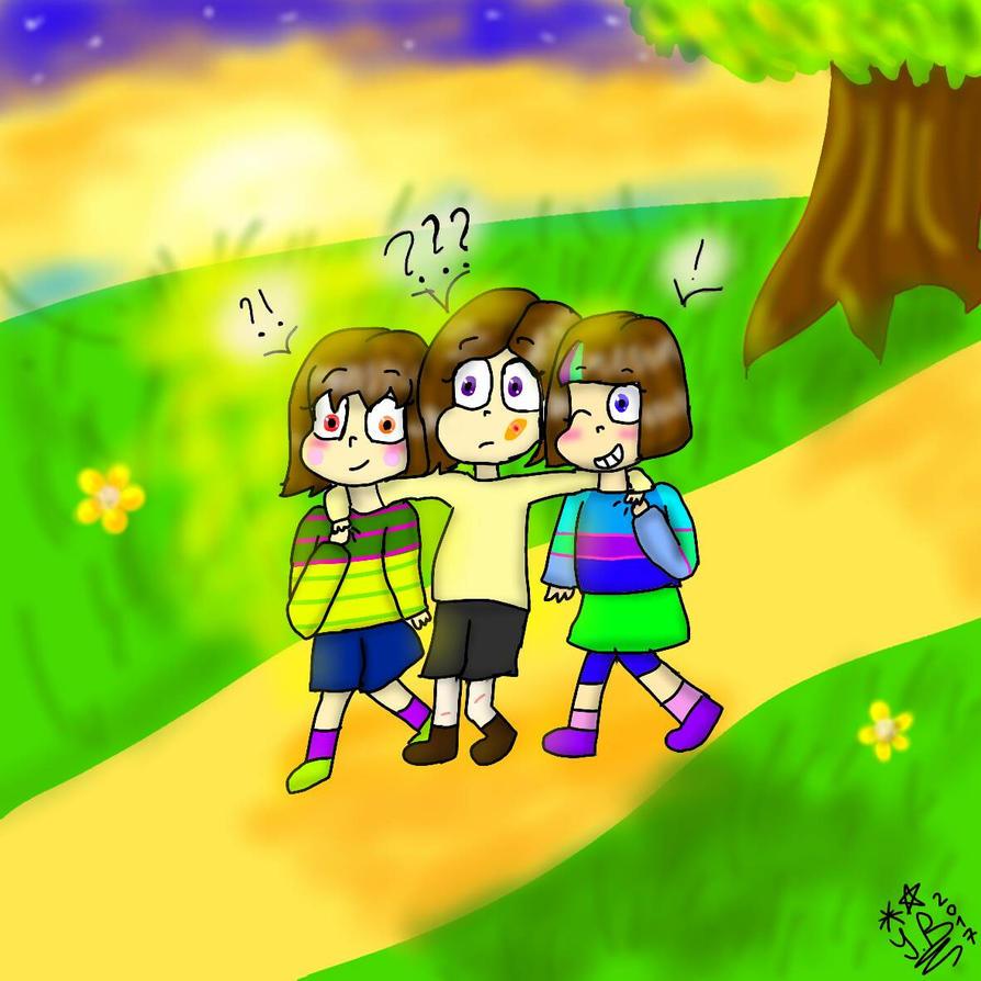 Mascot!Chara, Sofia and Mascot!Frisk by YuliaRabbid