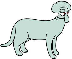 Squidward as a cat by dev-catscratch