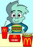 Pajama Sam eating a Big Mac
