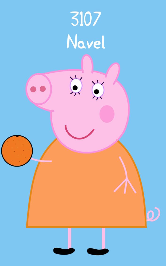 Peppa Pig: Mummy Pig Navel Orange PLU sticker by dev-catscratch