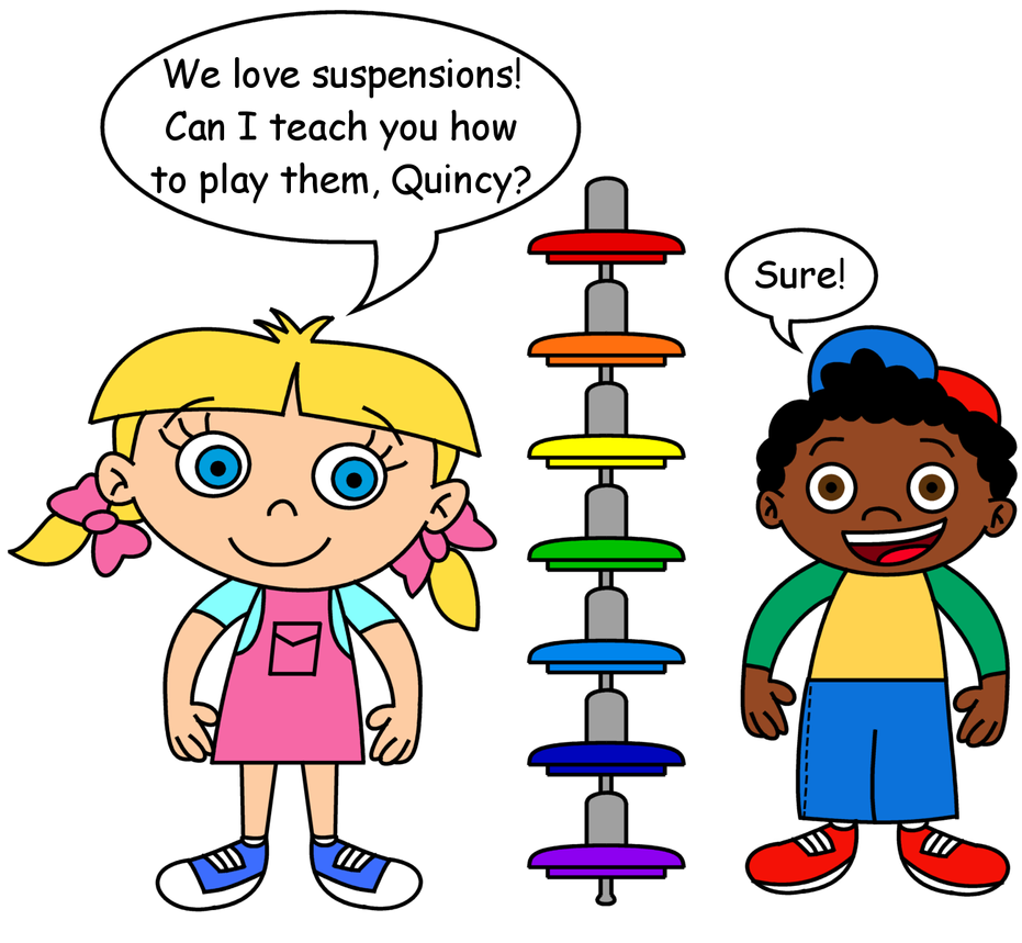 Annie and Quincy with rainbow suspensions by dev-catscratch