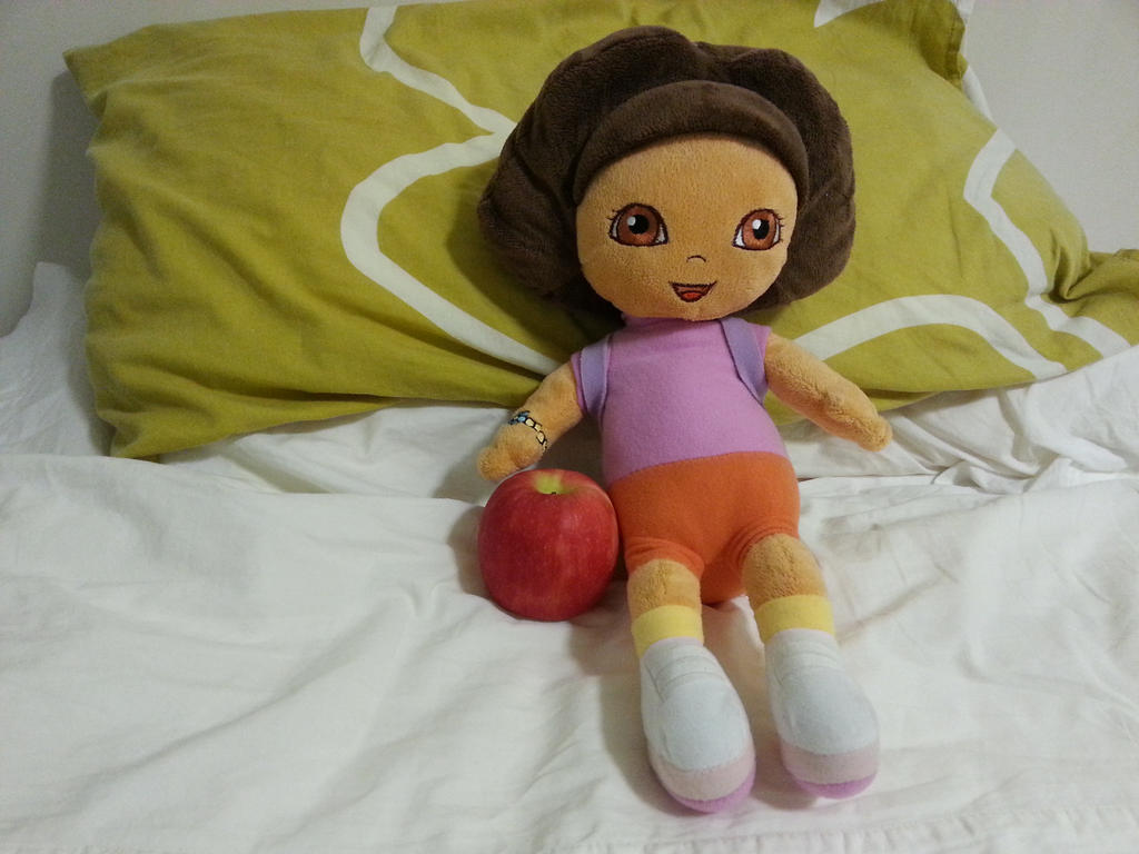 Dora plush with a Cripps Pink by dev-catscratch
