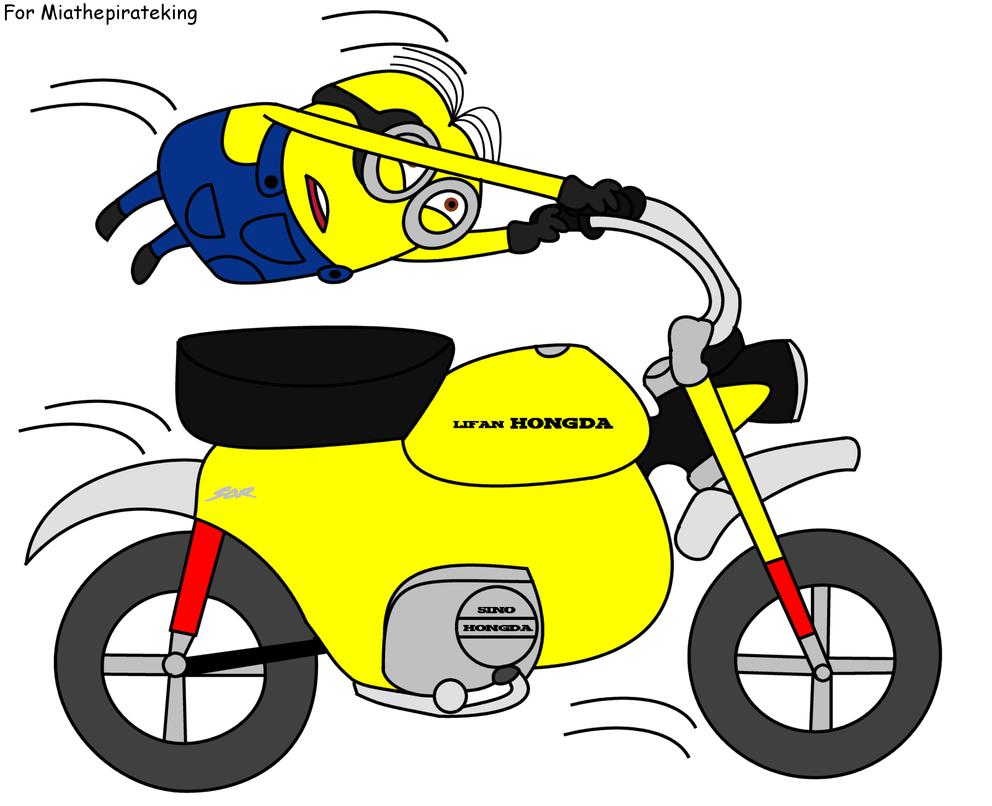 Minion Dave riding a monkey bike by dev-catscratch