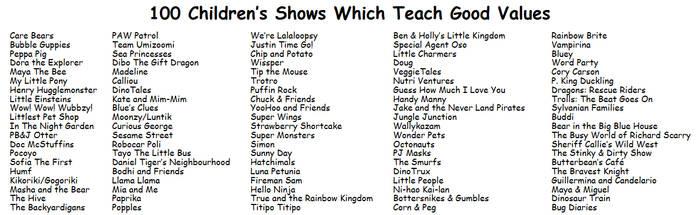 100 Children's Shows Which Teach Good Values