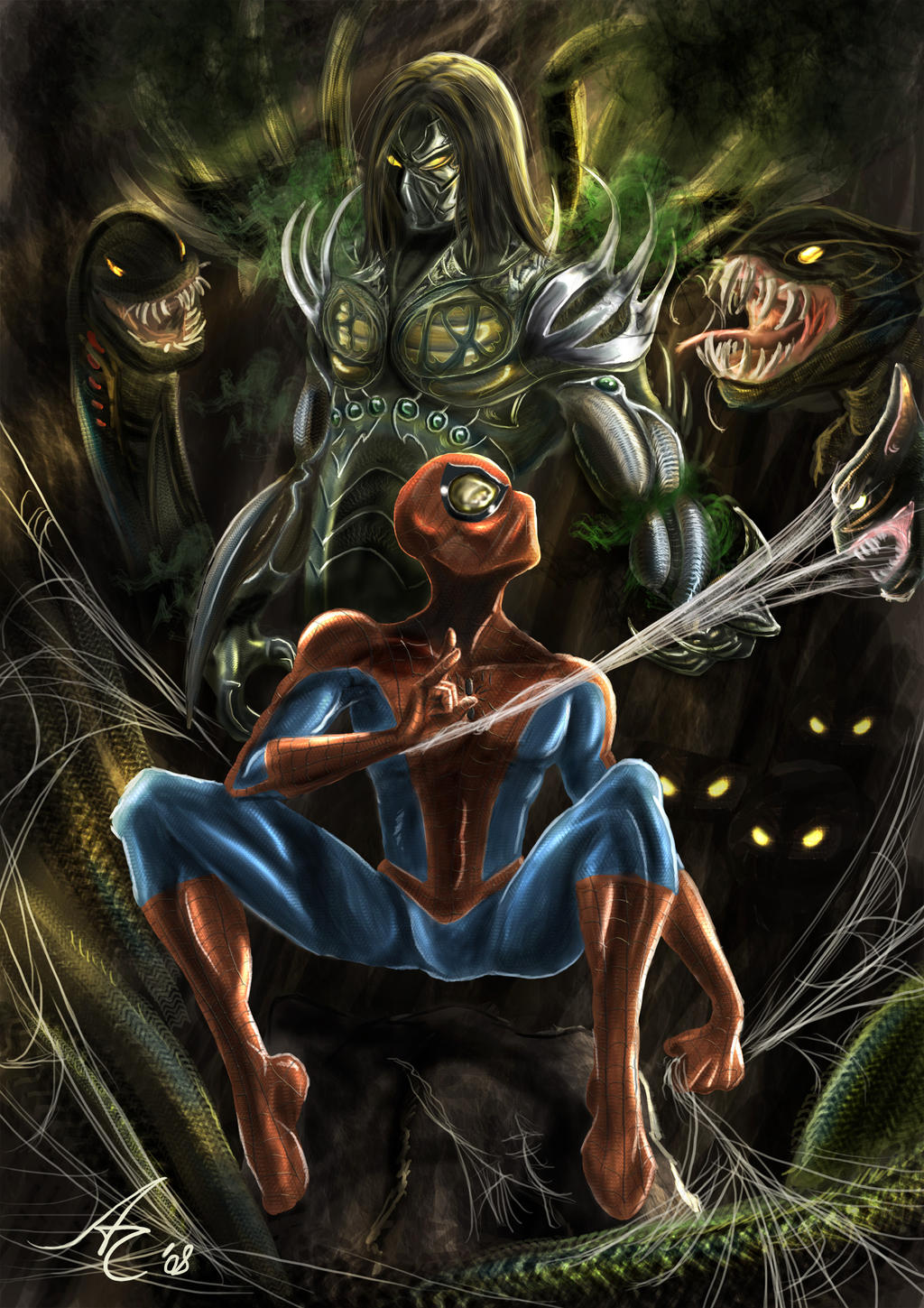 The Darkness and Spider-man by alecyl