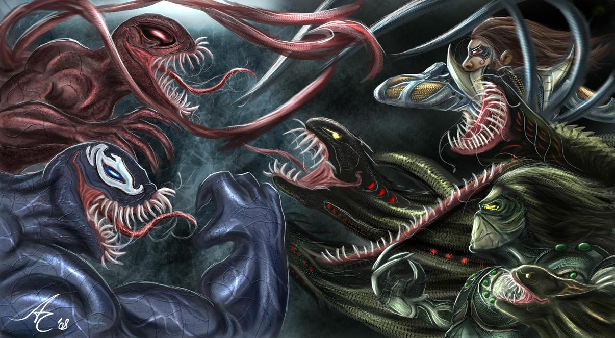 Symbiotes vs Jackie and Sara by alecyl on DeviantArt