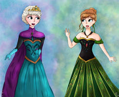 Anna and Elsa by Rin-luver