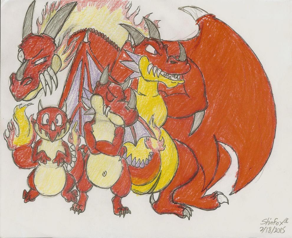 Monster Strike: The Red Symdra Evolution Line by MessatsuGouFox