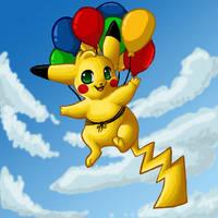 Balloon Pikachu by 0okamiseishin