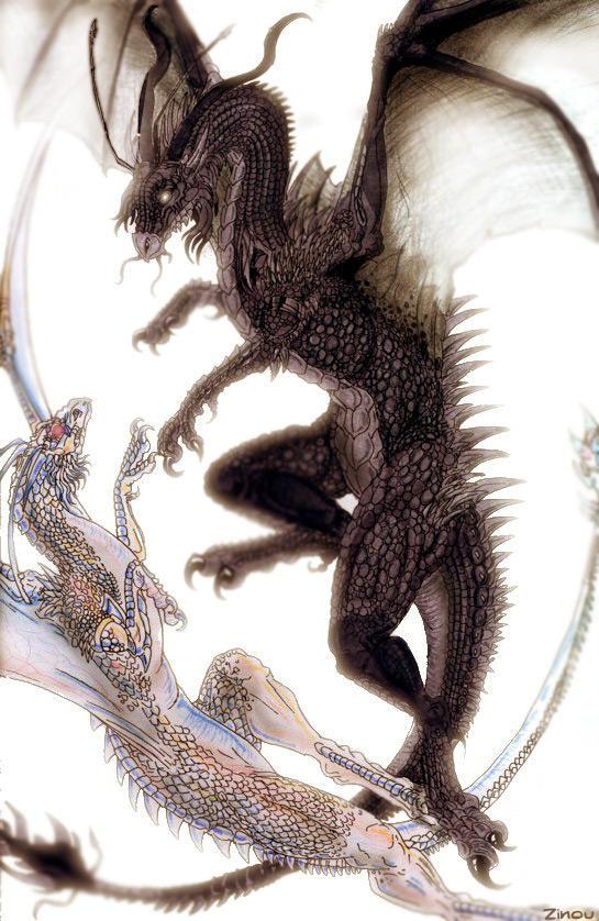 Dragons in flight by derangedhyena