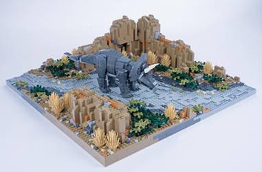 Jurassic Brick - Triceratops Diorama by JanetVanD