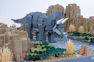 Jurassic Brick - Triceratops Inset by JanetVanD