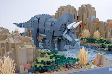 Jurassic Brick - Triceratops Inset by JanetVanD