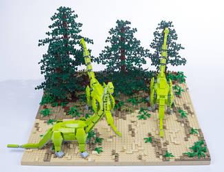 Jurassic Brick - Brachiosaurus Diorama by JanetVanD