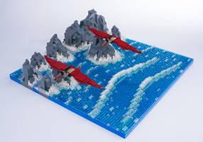 Jurassic Brick - Pterandon Diorama by JanetVanD