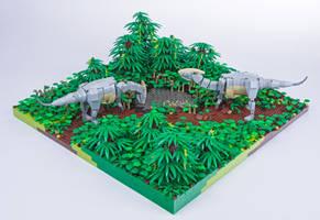 Jurassic Brick - Parasaurolphus Diorama by JanetVanD