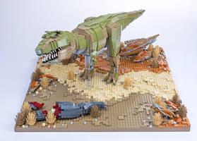 Jurassic Brick - Tyrannosaurus  Diorama by JanetVanD