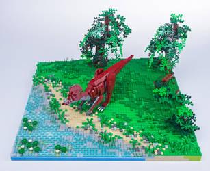 Jurassic Brick - Corythosaurus Diorama by JanetVanD