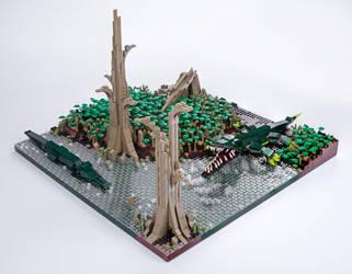 Jurassic Brick - Sarcosuchus Diorama by JanetVanD