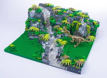 Jurassic Brick - Spinosaurus Diorama by JanetVanD