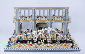 Jurassic Brick - Brontosaurus Skeleton in Museum by JanetVanD