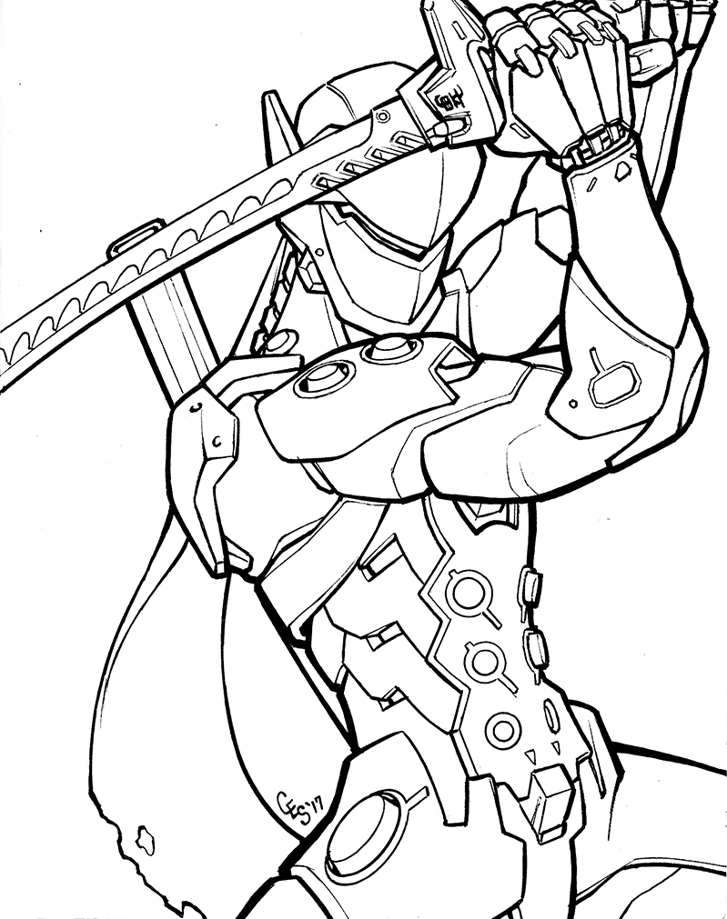 overwatch coloring pages genji inks by khilleus on deviantart