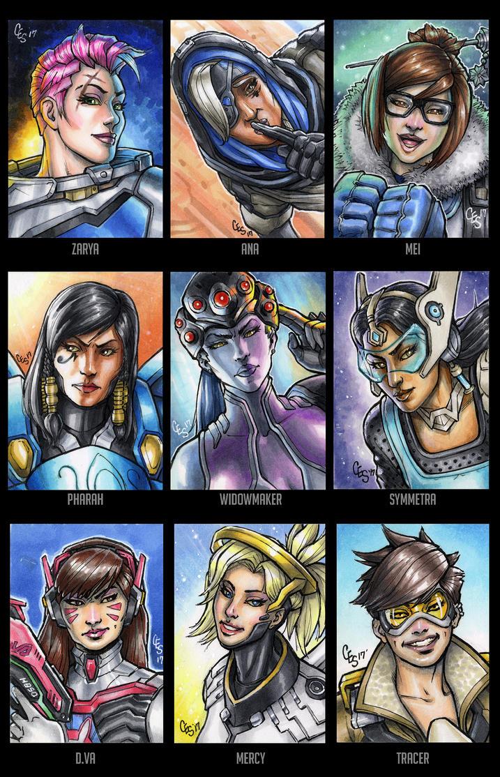 Overwatch Sketch Cards pt. 1 by Khilleus